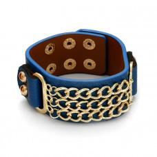 Niebieska bransoletka potrójna pancerka na pasku 18-21cm
