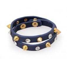 Bransoletka bransoletka ćwieki z kryształkami  granatowa 2x20cm