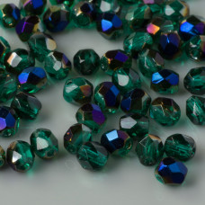 Fire Polish Blue Iris - Emerald (BR50730) 4mm