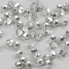 Fire Polish Silver 1/2 Coated Crystal (S00030) 6mm