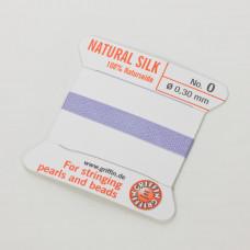 Nici jedwabne z igłą lilac 0,3mm