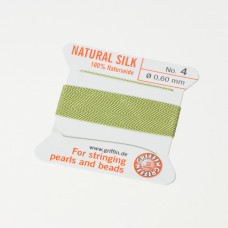 Nici jedwabne z igłą jade green 0,6mm