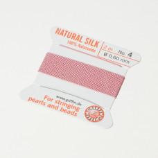 Nici jedwabne z igłą dark pink 0,6mm