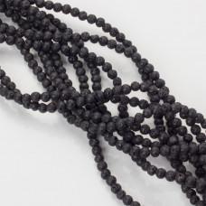 Lawa czarna matowa kulka 4mm czarna