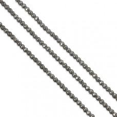 Hematyt kulki platerowane fasetowane srebrne 4mm