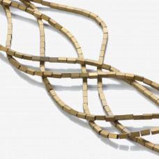 Hematyt platerowany matowy czworokąt złoty 2x4mm