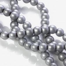 Hematyt kulka platerowana matowa srebrna 10mm