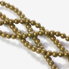 Hematyt kulka platerowana matowa złota 6mm