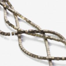 Hematyt platerowany kostka matowa brązowa 3x3mm