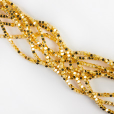 Hematyt platerowany kostka ścięta light gold 3x3mm