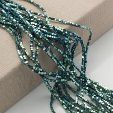 Hematyt platerowany kostka ścięta emerald 2x2mm