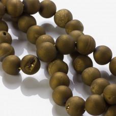 Agat z druzą mat platerowany złoty 12mm