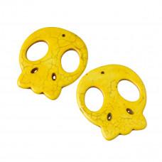 Howlit czacha zawieszka żółta 55x48mm