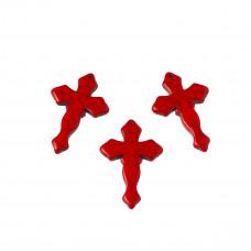 Howlit krzyż rzeźbiony zawieszka czerwony 44x29mm