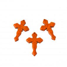 Howlit krzyż rzeźbiony zawieszka pomarańczowy 44x29mm