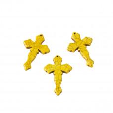 Howlit krzyż rzeźbiony zawieszka żółty 44x29mm