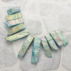 Kwarc plastry stopniowane platerowane zielone