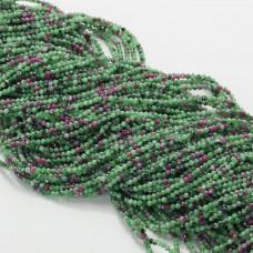 Zoisyt z rubinem kulka fasetowana zielona 2mm