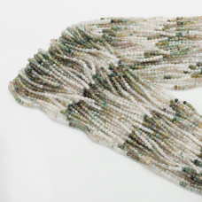 Agat mszysty kulka fasetowana cieniowana zielona 2mm 32cm