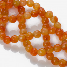 Jadeit kulka fasetowana pomarańczowa 10mm
