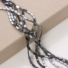 Hematyt platerowany prostokąt zaokrąglony srebrny mat  8x4mm