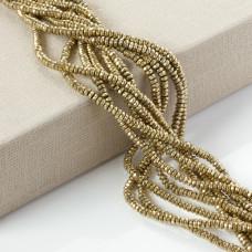 Hematyt oponka fasetowana platerowana złota 4x2mm