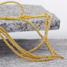 Hematyt kulki platerowane gładkie light gold 2mm