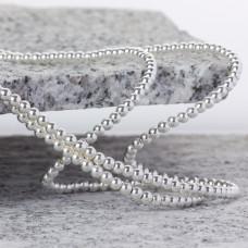 Hematyt kulki platerowane gładkie white silver 3mm