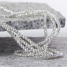 Hematyt kulka fasetowana platerowana white silver 3mm