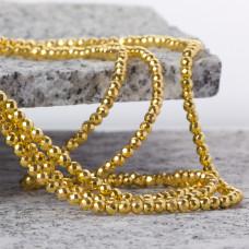 Hematyt kulka fasetowana platerowana light gold 3mm