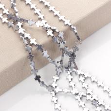 Hematyt krzyż błyszczący srebrny 10x8mm