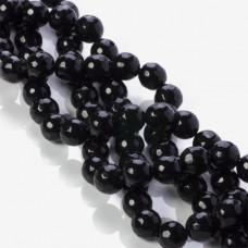 Jadeit kulka fasetowana czarna 10mm