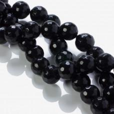 Jadeit kulka fasetowana czarna 12mm
