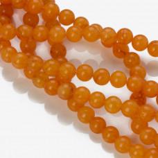 Jadeit kulka gładka pomarańczowa 8mm
