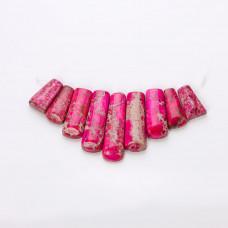 Jaspis cesarski różowy zestaw do naszyjnika słupki