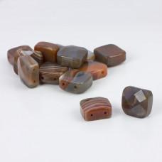Kaboszon agat fasetowany kwadrat brązowy