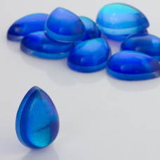 Kaboszon ze szkła kryształowego łezka niebieska 25x18mm