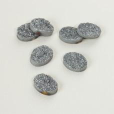 Kwarc tytanowy platerowany druzy owal srebrny 20x15mm