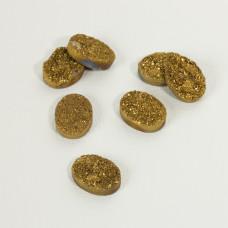 Kwarc tytanowy platerowany druzy owal złoty 20x15mm