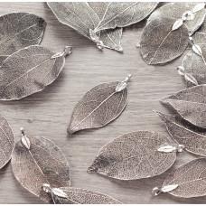 Liść naturalny metalizowany antyczne srebro 60mm