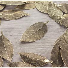 Liść naturalny metalizowany stare złoto 60mm