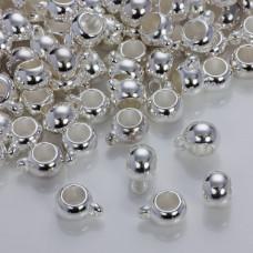Gładka krawatka do rzemieni w srebrnym kolorze 12mm