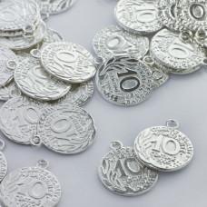 Metalowa zawieszka moneta 19mm