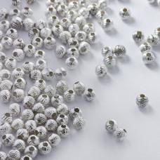Metalowy koralik kulka w paski 5mm