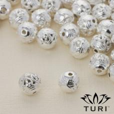 Koralik z ażurowym wzorkiem w srebrnym kolorze 8mm
