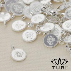 Zawieszka monetka z wzorkiem w srebrnym kolorze 7.5mm