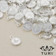 Zawieszka monetka jemioła w srebrnym kolorze 7.5mm