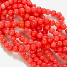 Koral bambusowy kulka różowy  6-7mm