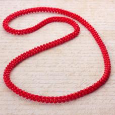 Naszyjnik pleciony z kulek korala czerwony 80cm