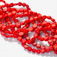 Krążki z czerwonego korala 9x4mm